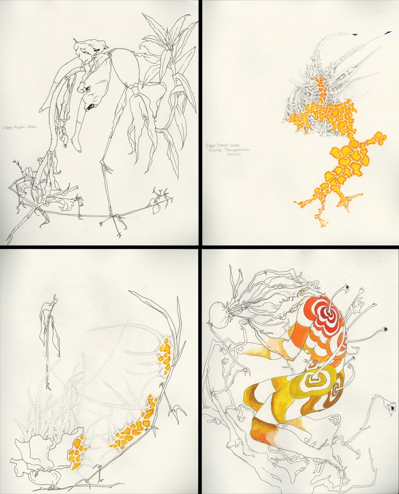 "Heather Mahoney, ""Untitled,"" Ink and colored pencil – Copy/Synthesize/Morph exercise (copying Ryoko Akoi and Daniel Zeller) completed for Intermediate Drawing Fall 2010, 4 drawings approximately 8""x10"" each"