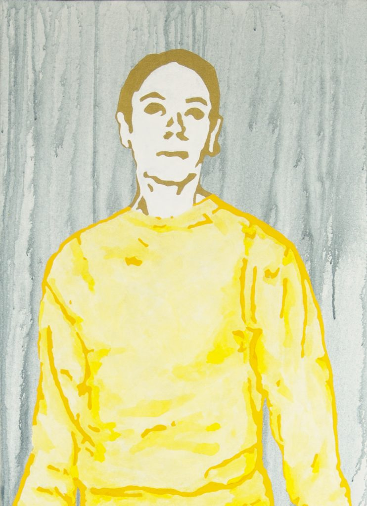 Figure in yellow sweatshirt