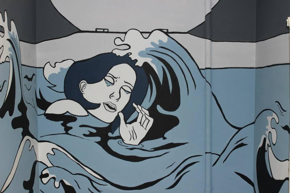 "Marissa Gain and Shawna Clayton, ""Homage to Roy Lichtenstein"" mural in the women's restroom in the Art Department"