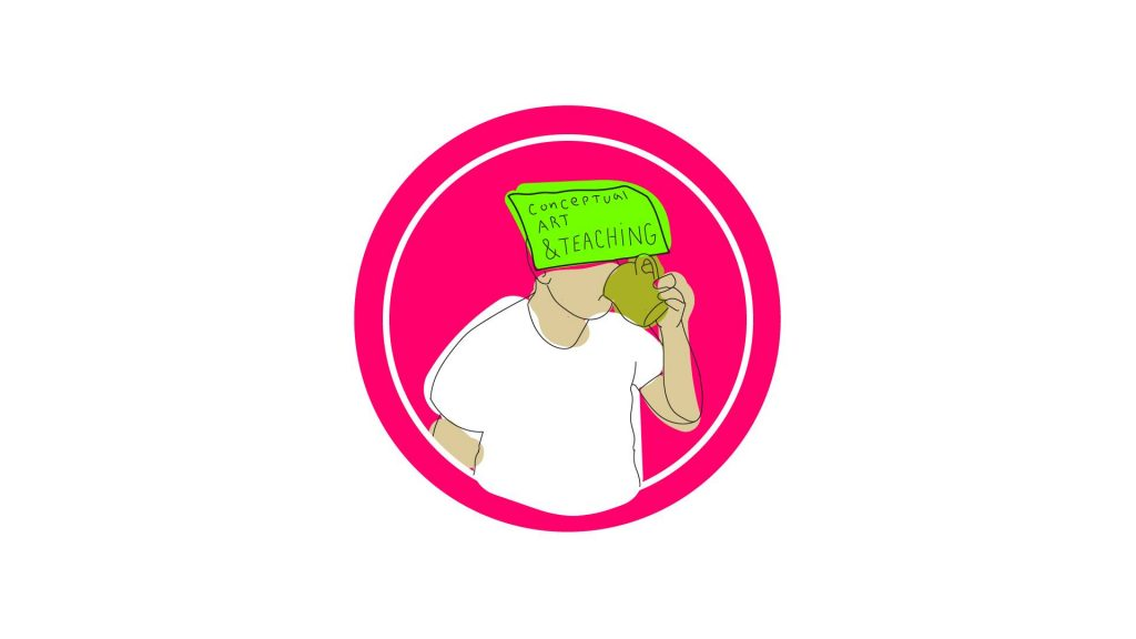 Cartoon of person drinking coffee with sign on head