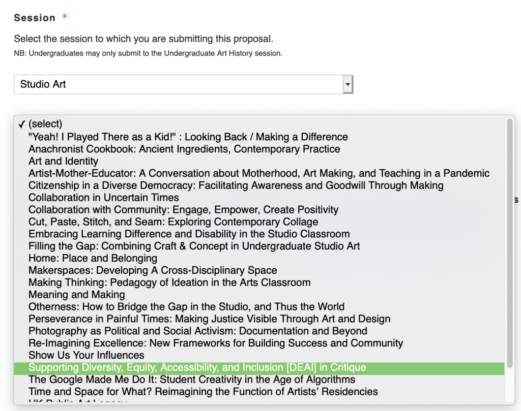 screenshot of application portal