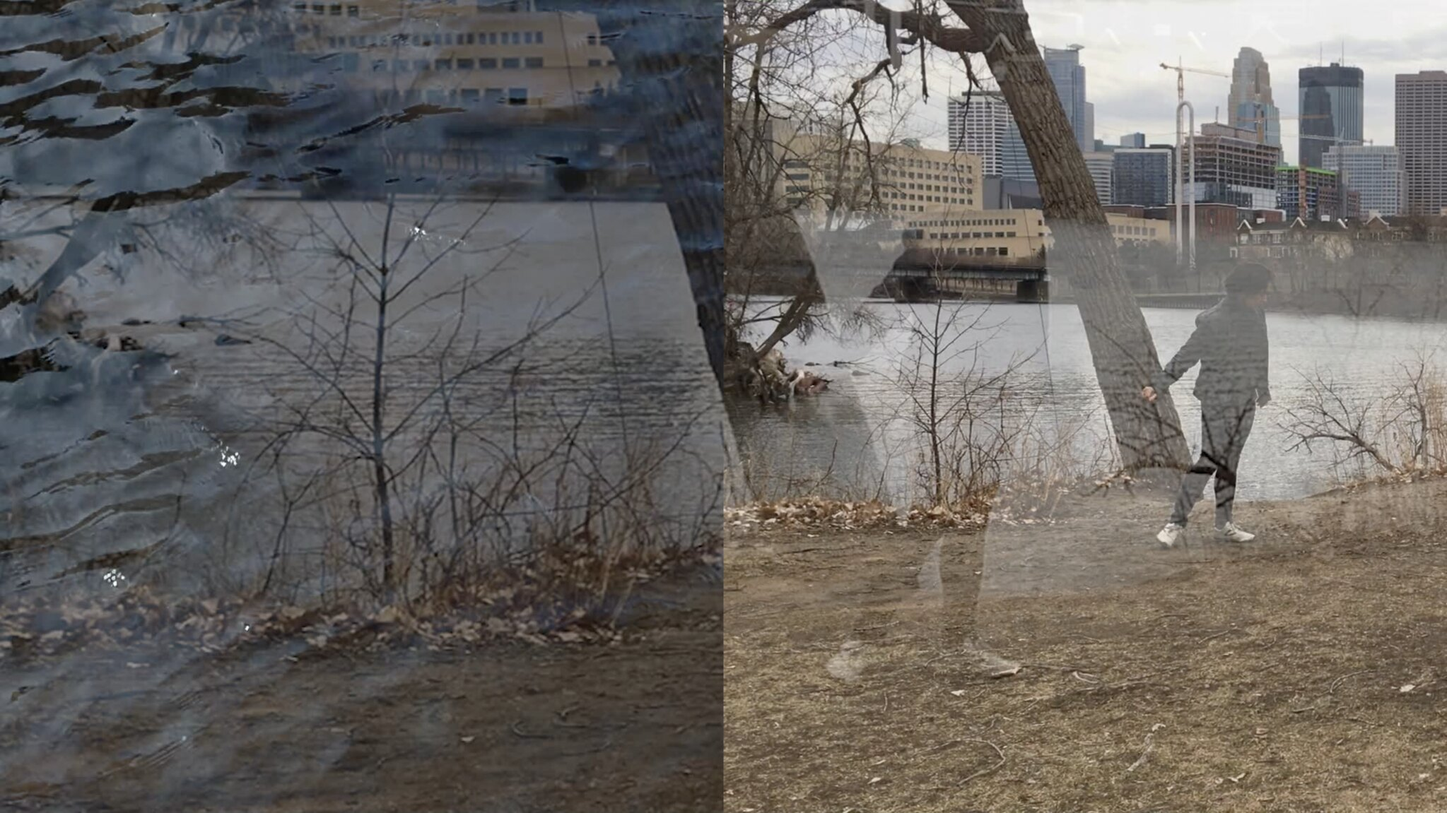 figure moving next to river
