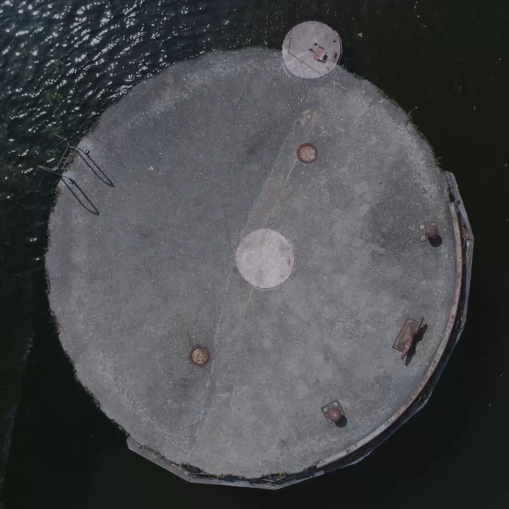 ariel views of a barge tie off