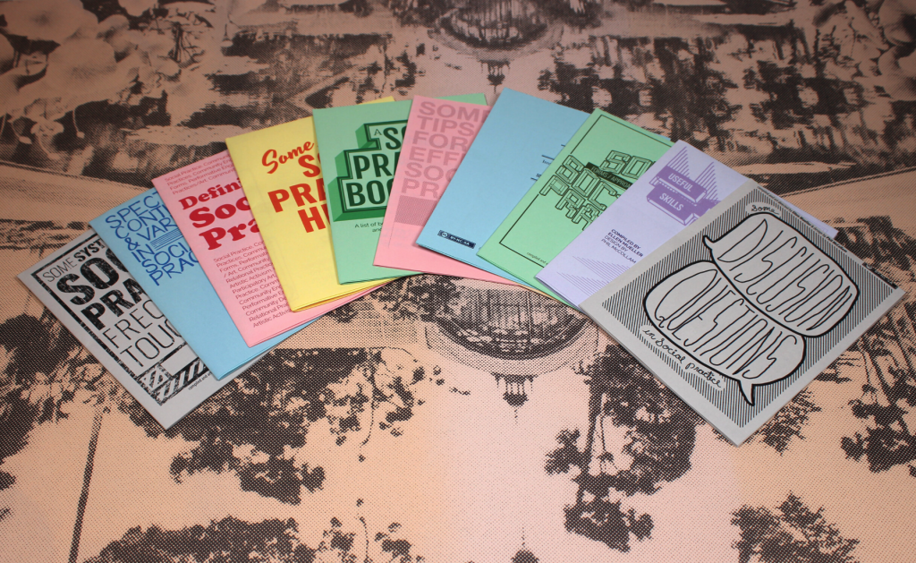 colorful zines on a floral background