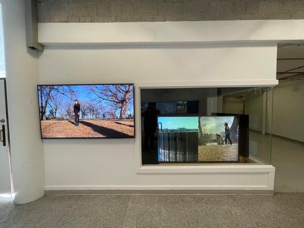 video screens in gallery